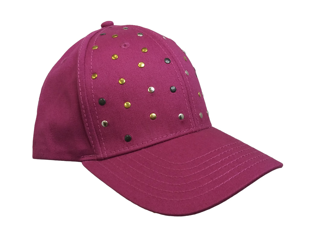 Raspberry Studded  Baseball Cap