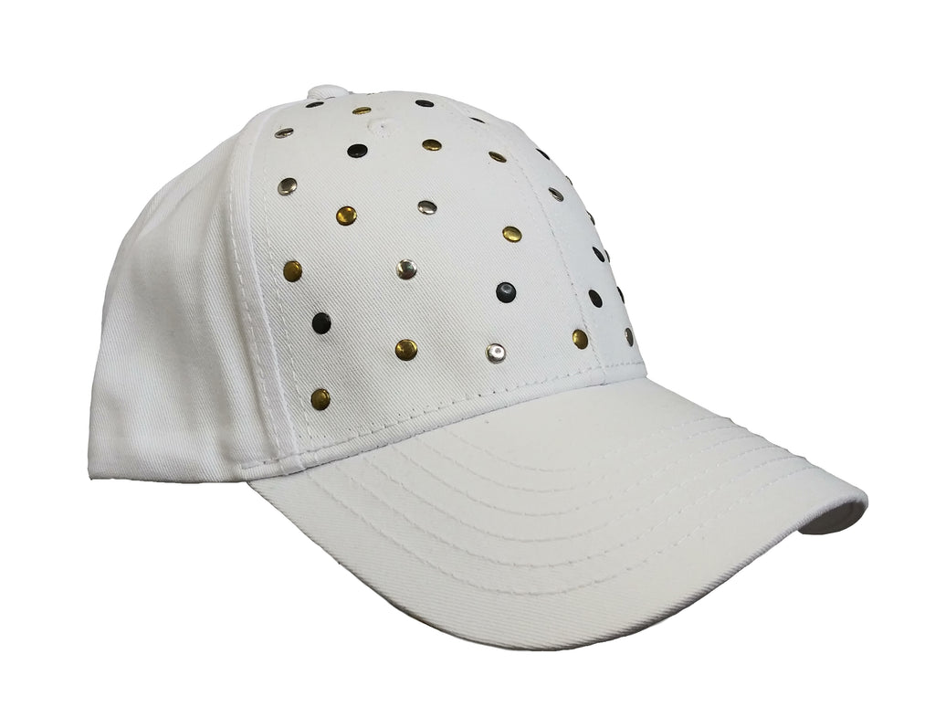 White Studded Baseball Cap
