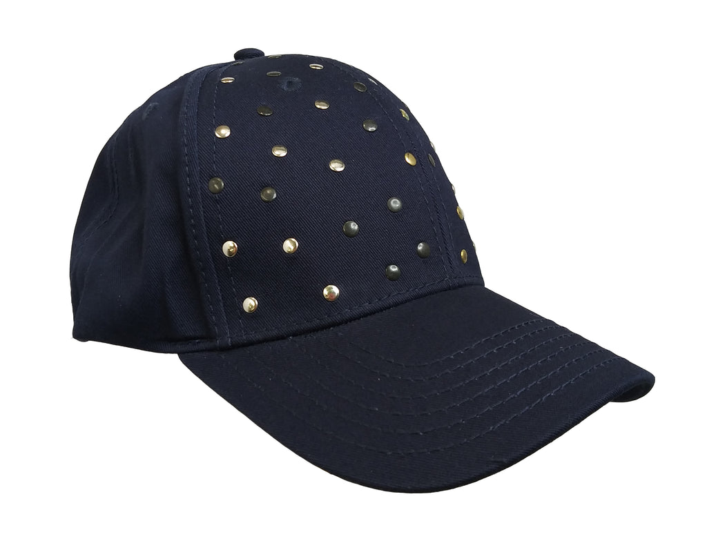 Dark Blue Studded  Baseball Cap