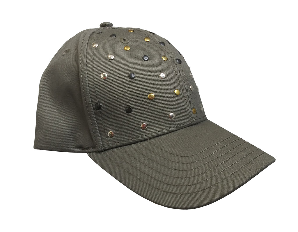 Camo Green Studded  Baseball Cap