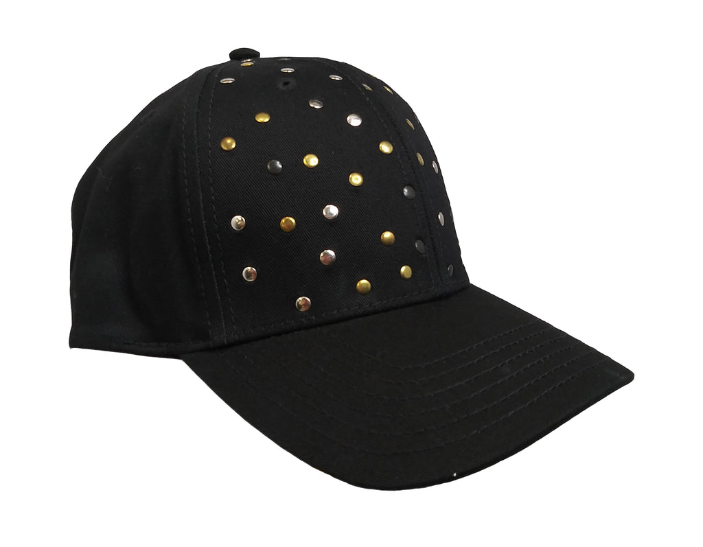 Black Studded  Baseball Cap