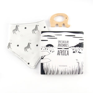 Africa teething set - zebra pattern - The Little Black & White Book Project