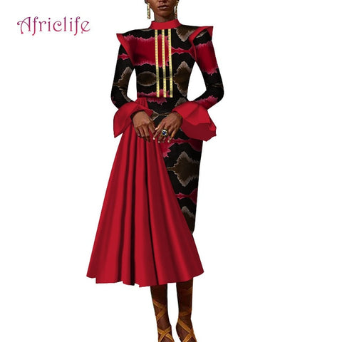 Image of 2019 Bazin Riche Ankle length Party Evening Dresses Women African Ruffles Sleeve Dresses for Women African Dresses Print WY4196