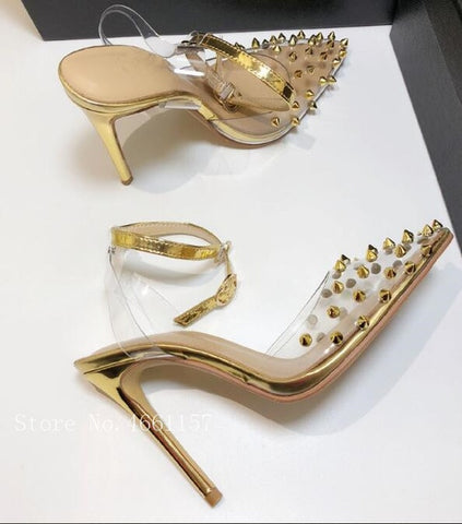 Image of 2019 Women Pumps 8CM 10cm Thin High Heels Slingbacks Clear PVC Gold Sliver Rivets Studs Pointed Toe Ankle Buckles Party Shoes