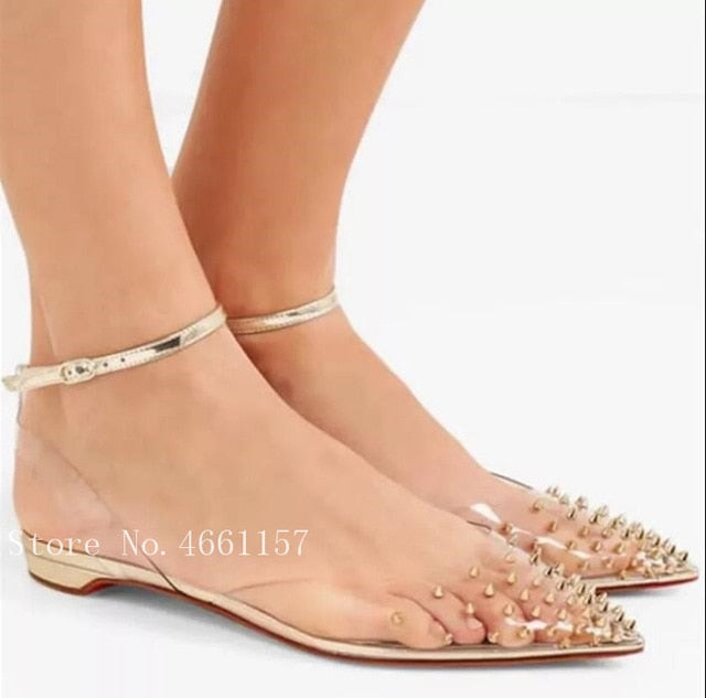 2019 Women Pumps 8CM 10cm Thin High Heels Slingbacks Clear PVC Gold Sliver Rivets Studs Pointed Toe Ankle Buckles Party Shoes