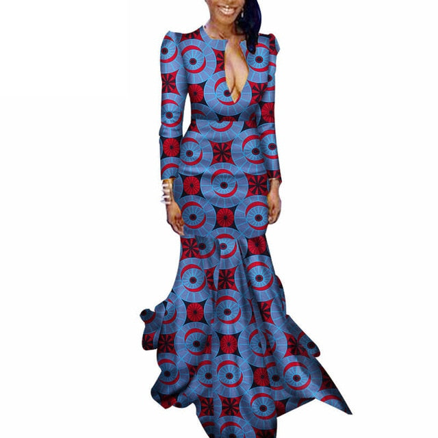 African Dresses for Women Bazin Riche Cotton African Ankara Dresses Wax Print Dress Traditional African Clothing Danshiki