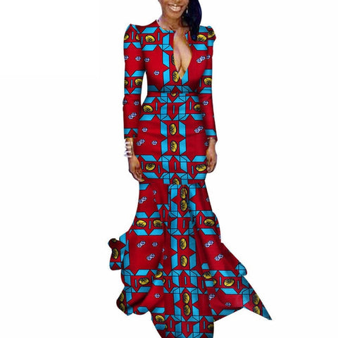 Image of African Dresses for Women Bazin Riche Cotton African Ankara Dresses Wax Print Dress Traditional African Clothing Danshiki