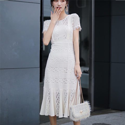 CBAFU new fashion cute white hollow out lace marmaid dress summer short sleeve o neck casual women dress slim party dresses D729