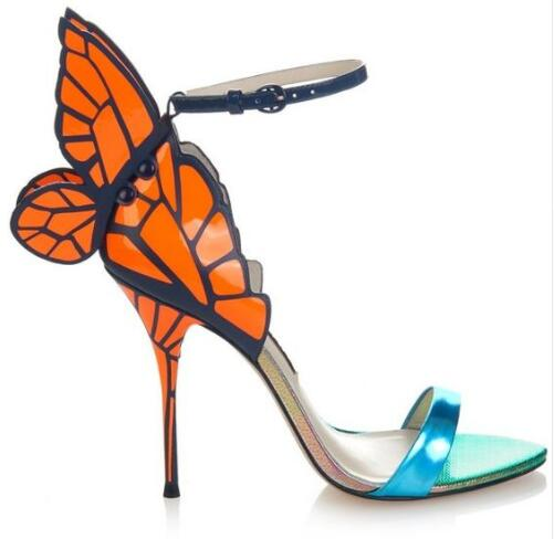 Gorgeous Colorful Butterfly Stiletto High Heels Sandals Shoes Open Toe Sexy Fashion Pumps Shoes Angel Wings Leather Shoes