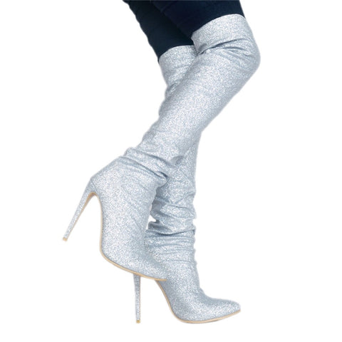 Image of Hot Botines Mujer 2018 Sexy Bling High Heels Glitter Knee High Boots Sequined Long Top Boots Ladies Nightclub Fetish Shoes Botas