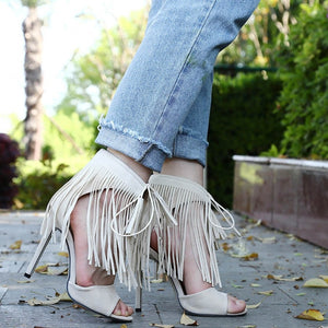 NEW Fringe Gladiator Tassel Sandals Women Lace-up Tied Sexy High Heels Suede Cross Ankle Strap Sandal Summer Party Shoes Woman