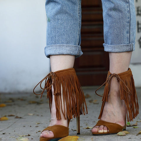 Image of NEW Fringe Gladiator Tassel Sandals Women Lace-up Tied Sexy High Heels Suede Cross Ankle Strap Sandal Summer Party Shoes Woman