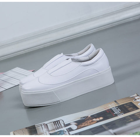 New Summer  Woman Shoe Fashion Thick Soles White Woman Loafers Slip