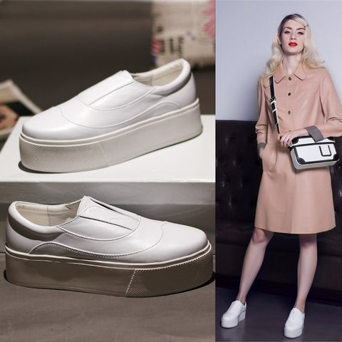 Image of New Summer  Woman Shoe Fashion Thick Soles White Woman Loafers Slip