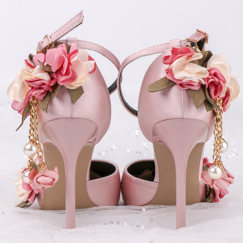 Pink Sandals Flowers Bride Wedding Party TV Program 10cm High Heels Large Size Plus Number Satin Female Beautiful Shoes