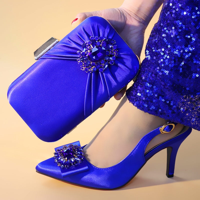 Royal Blue Wedding Italian Shoes with Matching Bags Set Decorated with Rhinestone African Shoes for Women High Heels Party Pumps