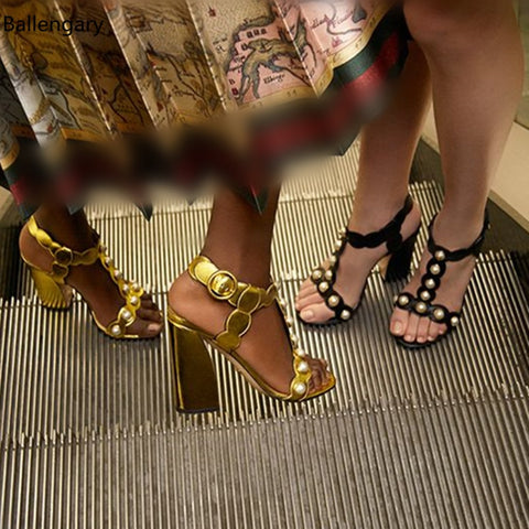 Sandalias Mujer T-Strap Metallic Gold And Black Leather Sandals Women Summer 2018  Fashion Women Shoes Block High Heels Pumps