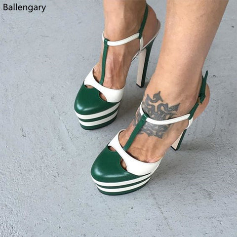 Supper Fashion Summer Shoes High Platform Sandals Round Toe Stiletto High Heels Green White Gladiator Sandals Women Shoes