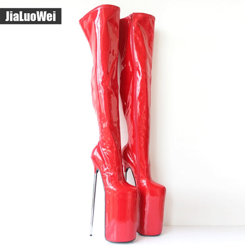 jialuowei New Arrive  30CM Super High Metal Heels Sexy Fetish Platform Pu Leather Zip Over-the-Knee Thigh High Boots Plus Size