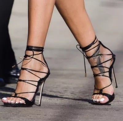 Eunice Choo Sexy Ankle Strap Cross-tied High Heels Sandals Black Embossed Leather Pumps Lace Up Summer Women Party Shoes