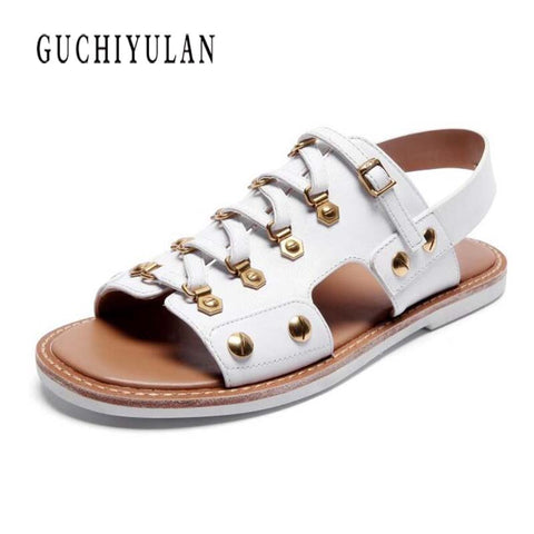 Image of 2018 new women sandals cow genuine leather flat sandals summer fashion woman punk gladiator leather ladies sandals and slippers