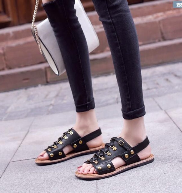 2018 new women sandals cow genuine leather flat sandals summer fashion woman punk gladiator leather ladies sandals and slippers