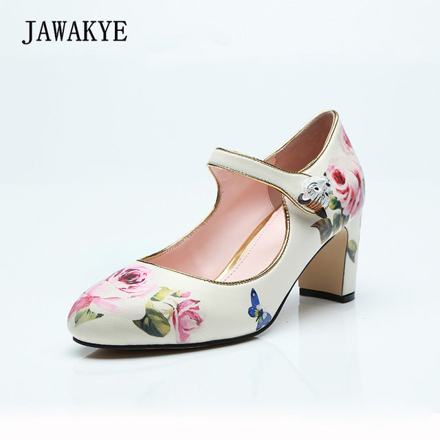 JAWAKYE Print Flowers Middle heel Women Pumps Buckle trendy retro Chunky high heel shoes Woman White Wedding Shoes Party shoes