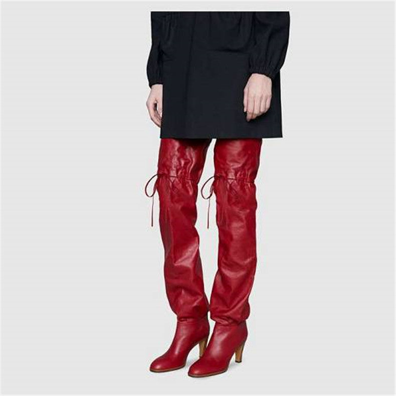 2018 Autumn Winter new style European and American over the knee boots model catwalk fashion show strap chunky heel long boots