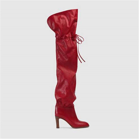 Image of 2018 Autumn Winter new style European and American over the knee boots model catwalk fashion show strap chunky heel long boots