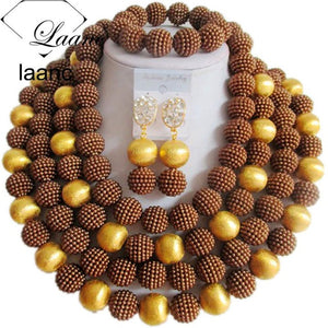 Brand Laanc Big Necklace Bridal Imitation Pearl Jewelry Set Nigerian Wedding African Beads Dubai AL188