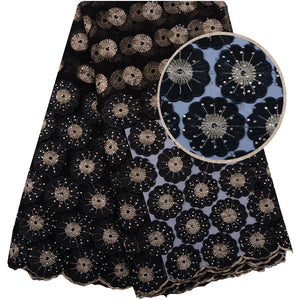 Black Color 3D Lace Fabric With Stones 3D Flower Embroidered Lace Appliques French Tulle Lace Fabric 5 Yards For Wedding 1084