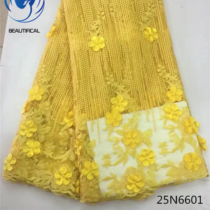 Beautifical  african lace fabric High quality Nigerian lace 3d flowers embroidered  25N66 5 yards