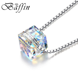 BAFFIN Crystals From SWAROVSKI Cube Beads Necklace Pendants 925 Sterling Silver Chain Necklaces For Women Wedding Chic Gift
