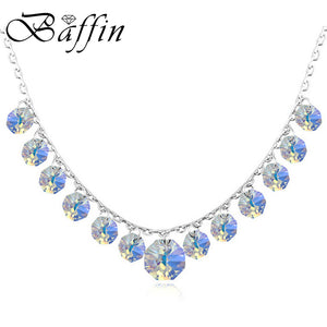 BAFFIN Bohemian Necklaces Tassel Crystals Made with SWAROVSKI Elements Silver Color Jewelry For Women Wedding Party