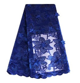 Royal blue 3D french lace fabric with flower embroidery sequins lace fabric high quality african net lace for asoebi party dress