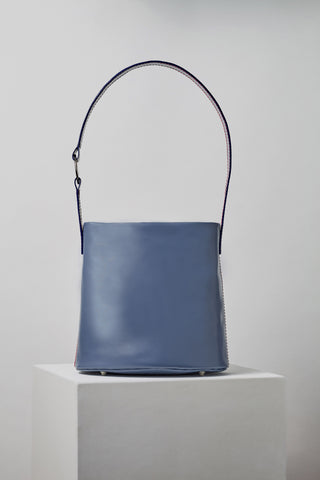 MLE Leather 706 Bucket Bag Cadet Blue Front