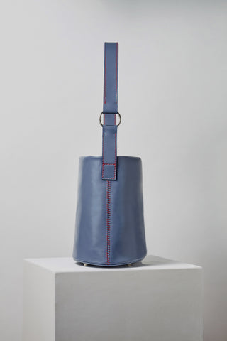 MLE Leather 706 Bucket Bag Cadet Blue Side