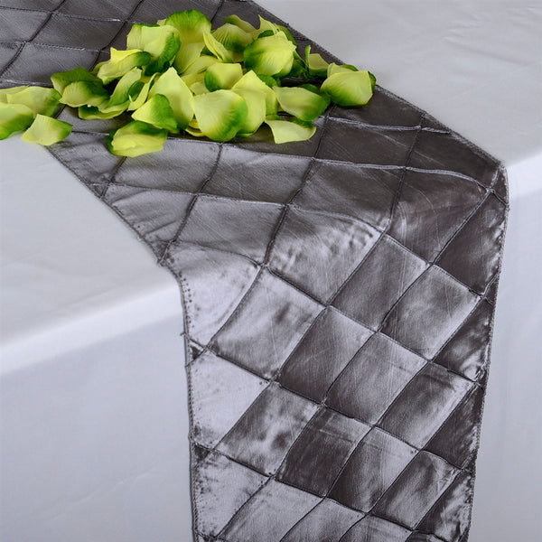Silver - 12 inch x 108 inch Pintuck Satin Table Runner
