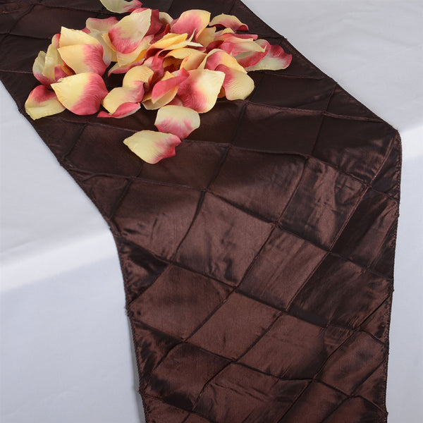 Chocolate Brown - 12 inch x 108 inch Pintuck Satin Table Runner