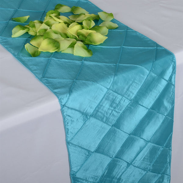 Turquoise- 12 inch x 108 inch Pintuck Satin Table Runner
