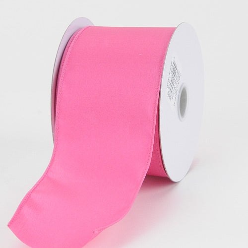 2-1/2 x 10 Yd Hot Pink Satin Ribbon Thick Wired Edge