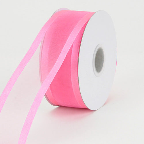 Hot Pink - Organza Ribbon Two Striped Satin Edge - ( 5/8 inch | 25 Yards )