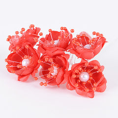 Organza Flowers with Pearl Beads (6x12)