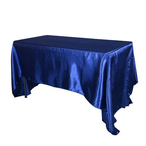 Navy Blue 60 Inch x 102 Inch Rectangular Satin Tablecloths
