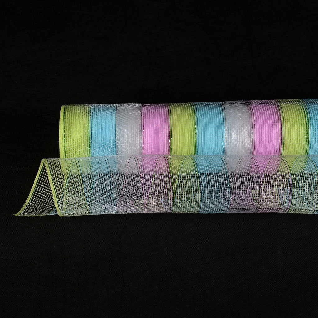 Fairy - Poly Deco Mesh Wrap with Laser Mono Stripe -  ( 21 Inch x 10 Yards )