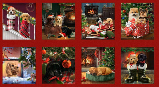 Fireside Pups - Christmas Puppies Block Multi Panel 7191 88