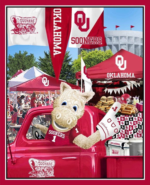 University of Oklahoma Cotton Fabric Panel with Tailgate Scene OU-1157