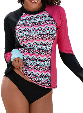 Color Block Long Sleeve Rashguard Top