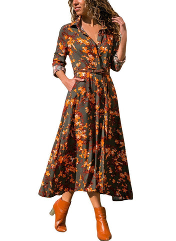 Floral Print Button Down Belted Shirt Dress