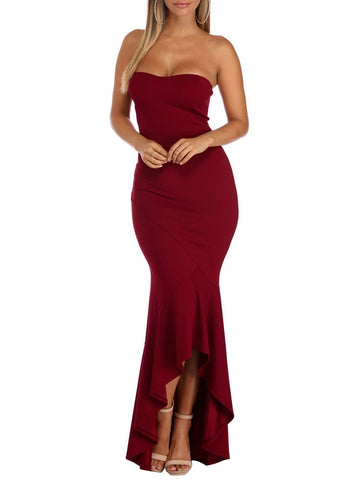 Ruffled Bodycon Maxi Dress